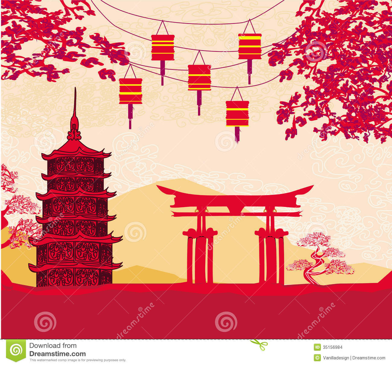 Building Style Abstract Business Card Template: Traditional Lanterns And Asian