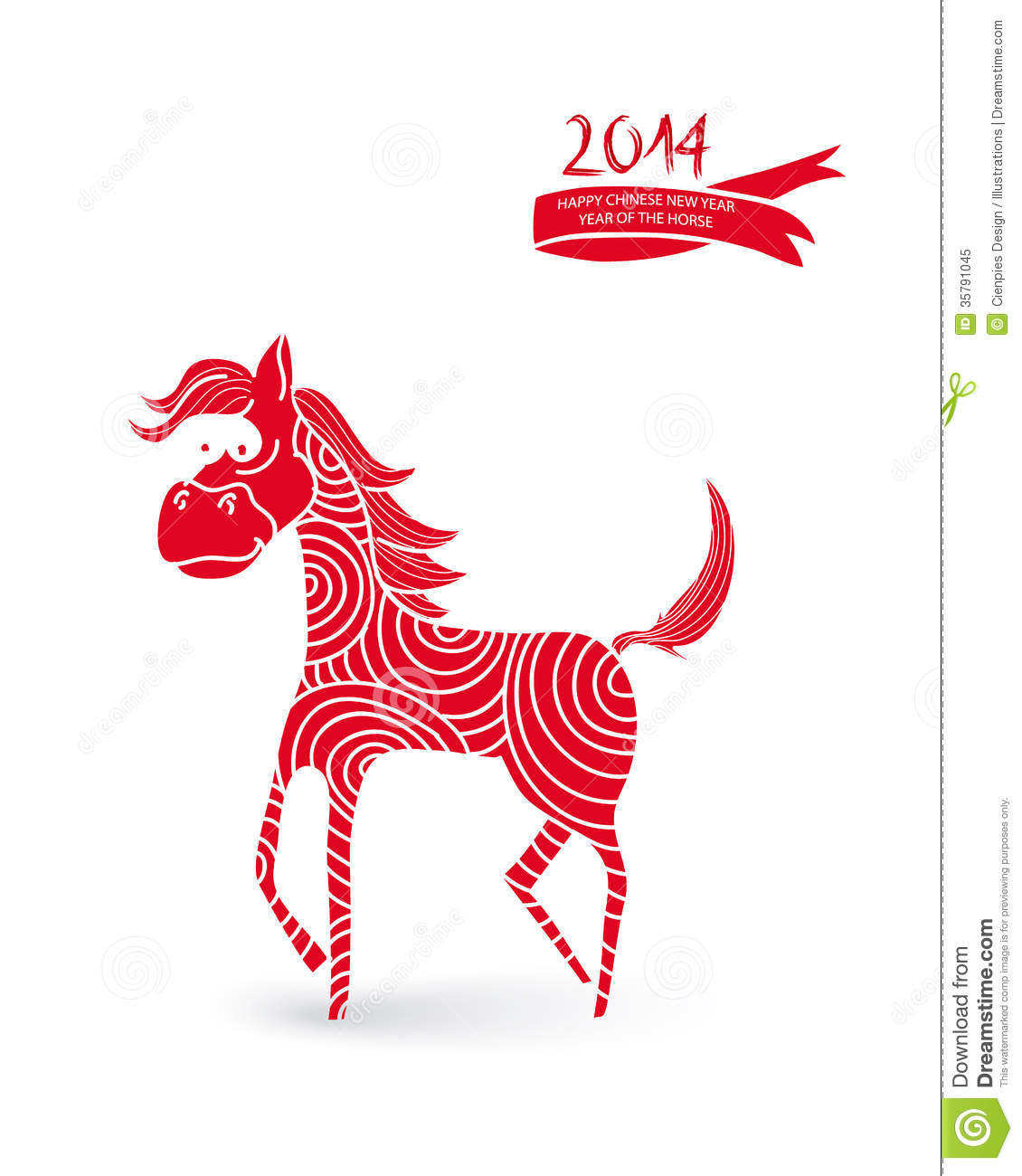 Chinese Calendar Illustration : Chinese new year cartoon horse illustration royalty free