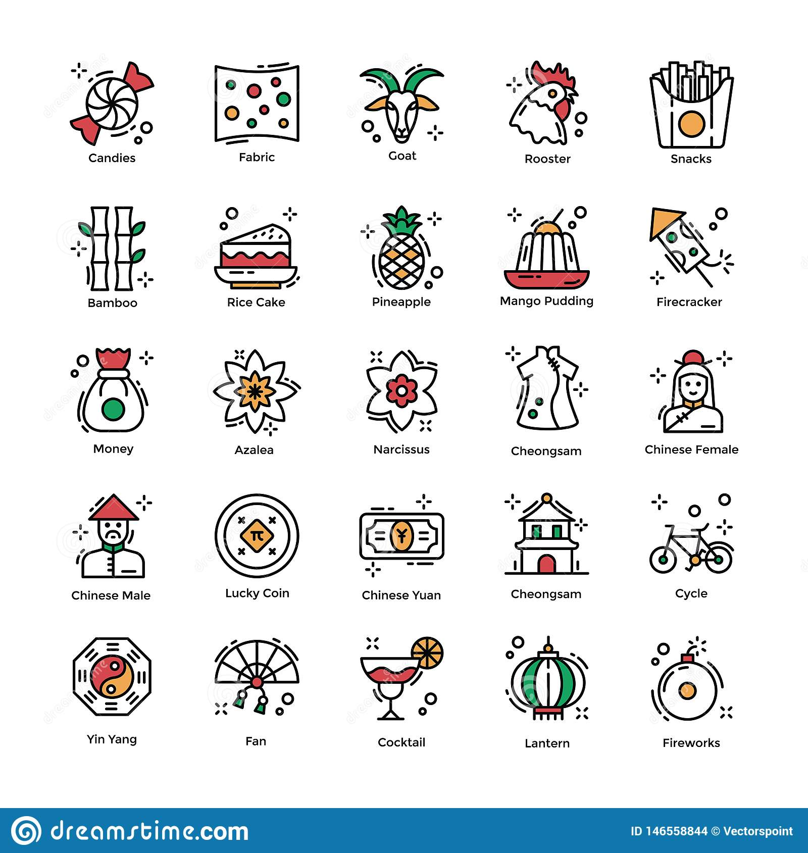 Chinese New Year Celebrations Flat Icons Pack