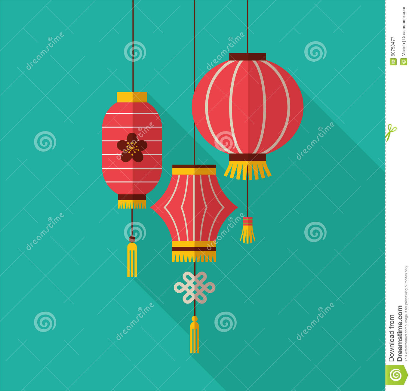 Chinese New Year, Clean Flat Design With Lanterns Stock ...
