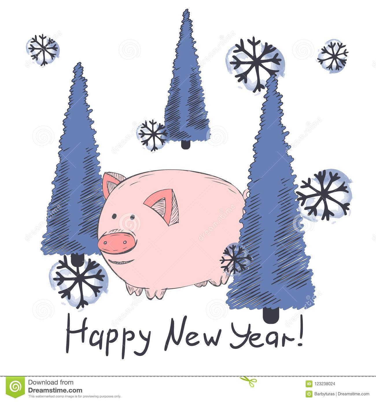 Chinese New Year 2019 Cute Pig Zodiac Character Vector Illustration