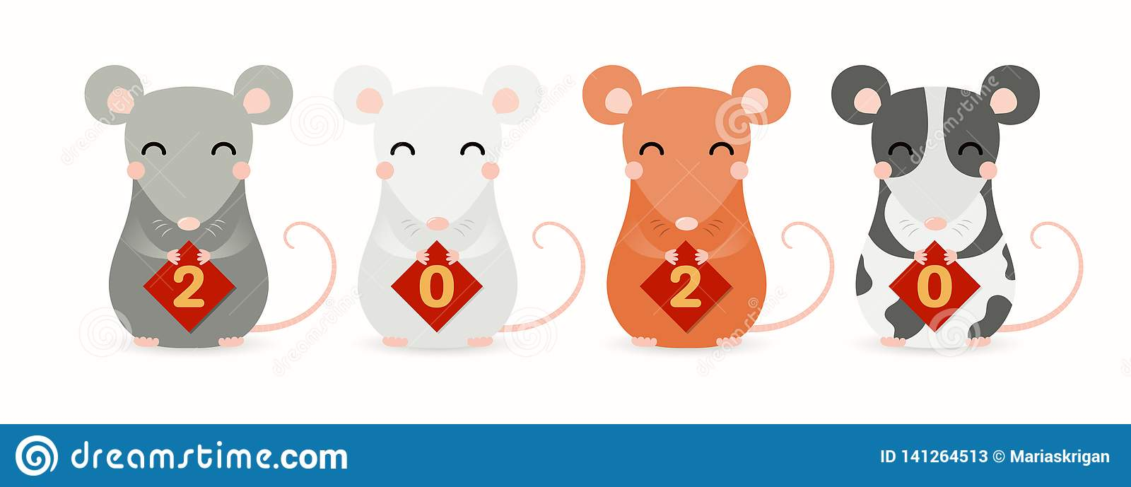 2020 Chinese New Year Cute Rats Stock Vector ...