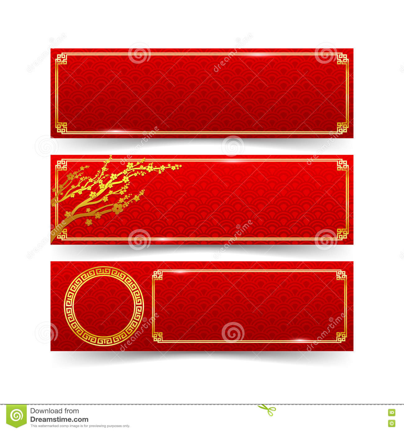 abstract chinese red banner background and gold border with modern art chinese style isolated on the white background vector illustration