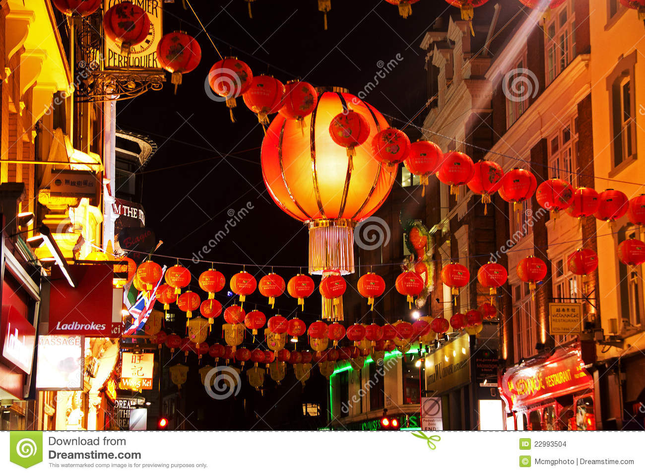 CHINESE NEW YEAR DECORATION IN CHINA TOWN, LONDON ...