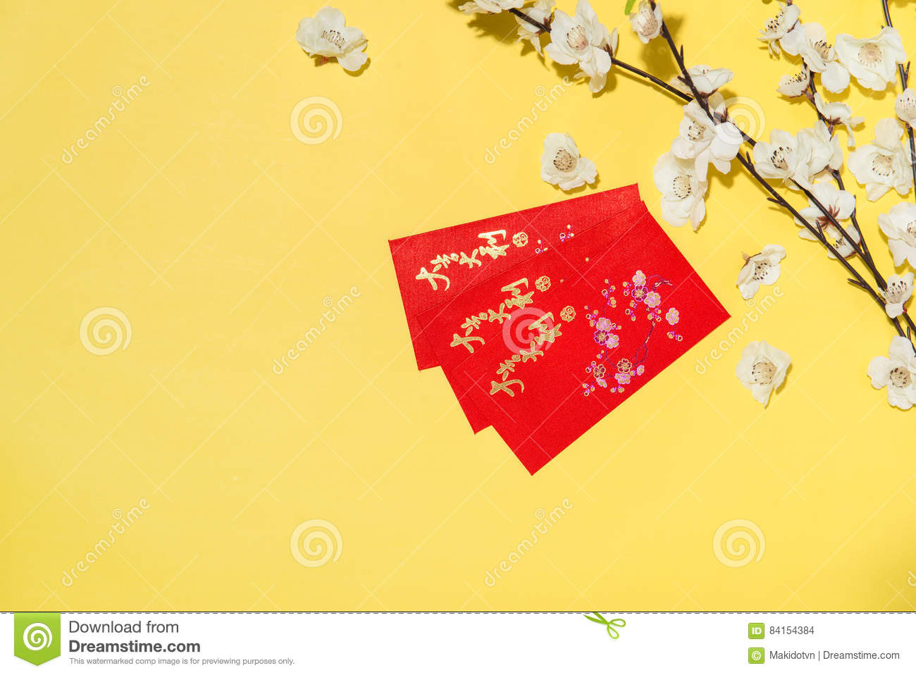 chinese new year decoration items on yellow background text mea