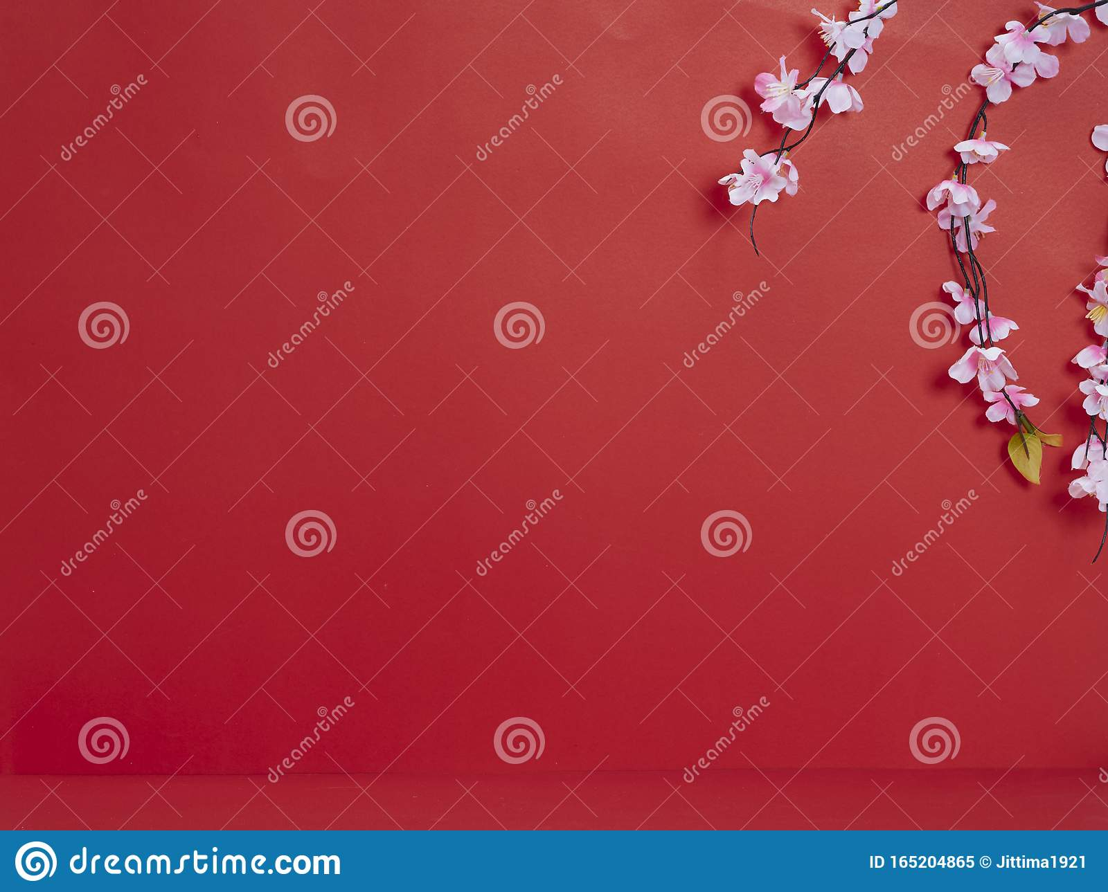 Chinese new year decoration on red background