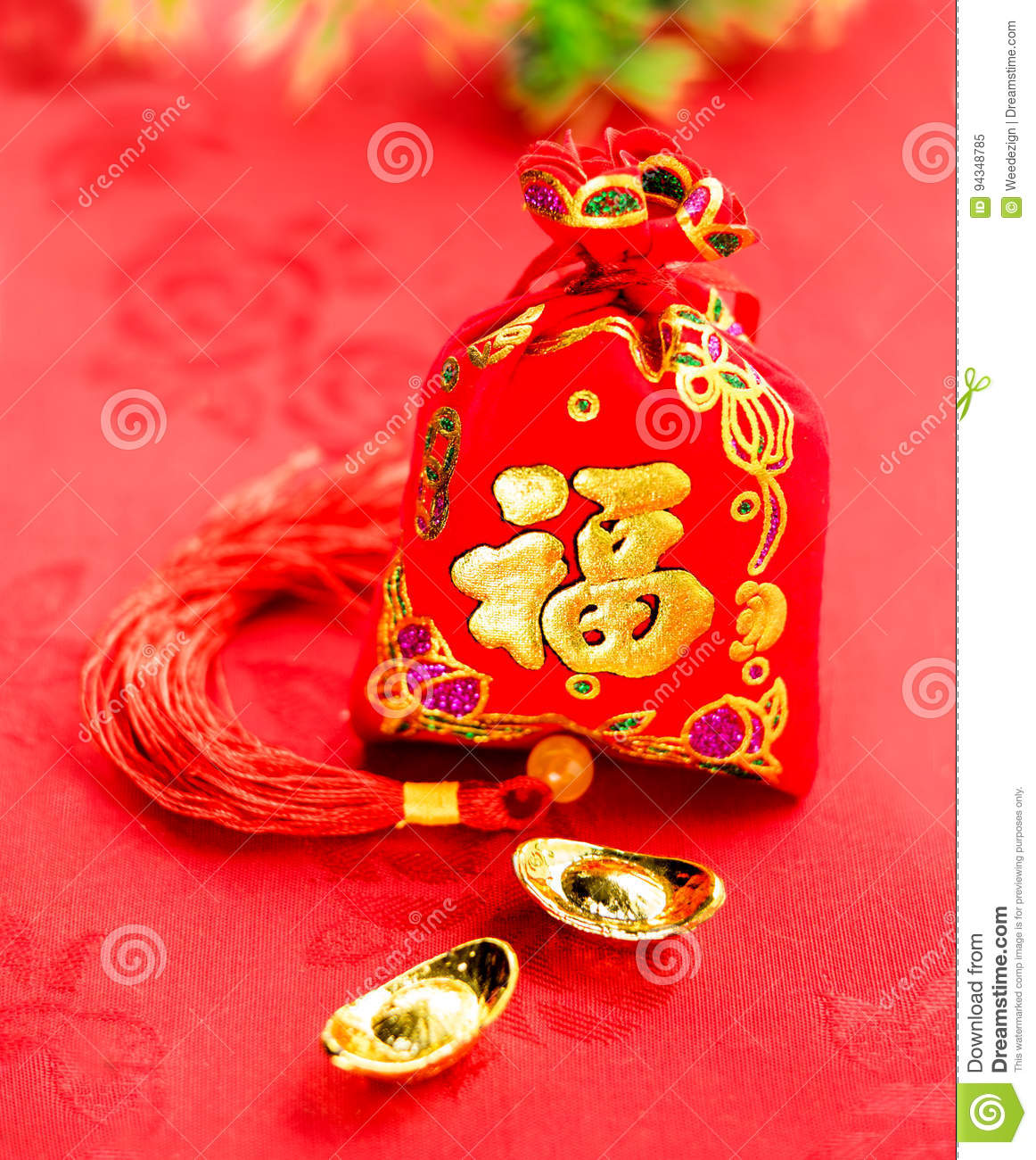 Chinese New Year Decoration: Red Felt Fabric Bag Or Ang ...