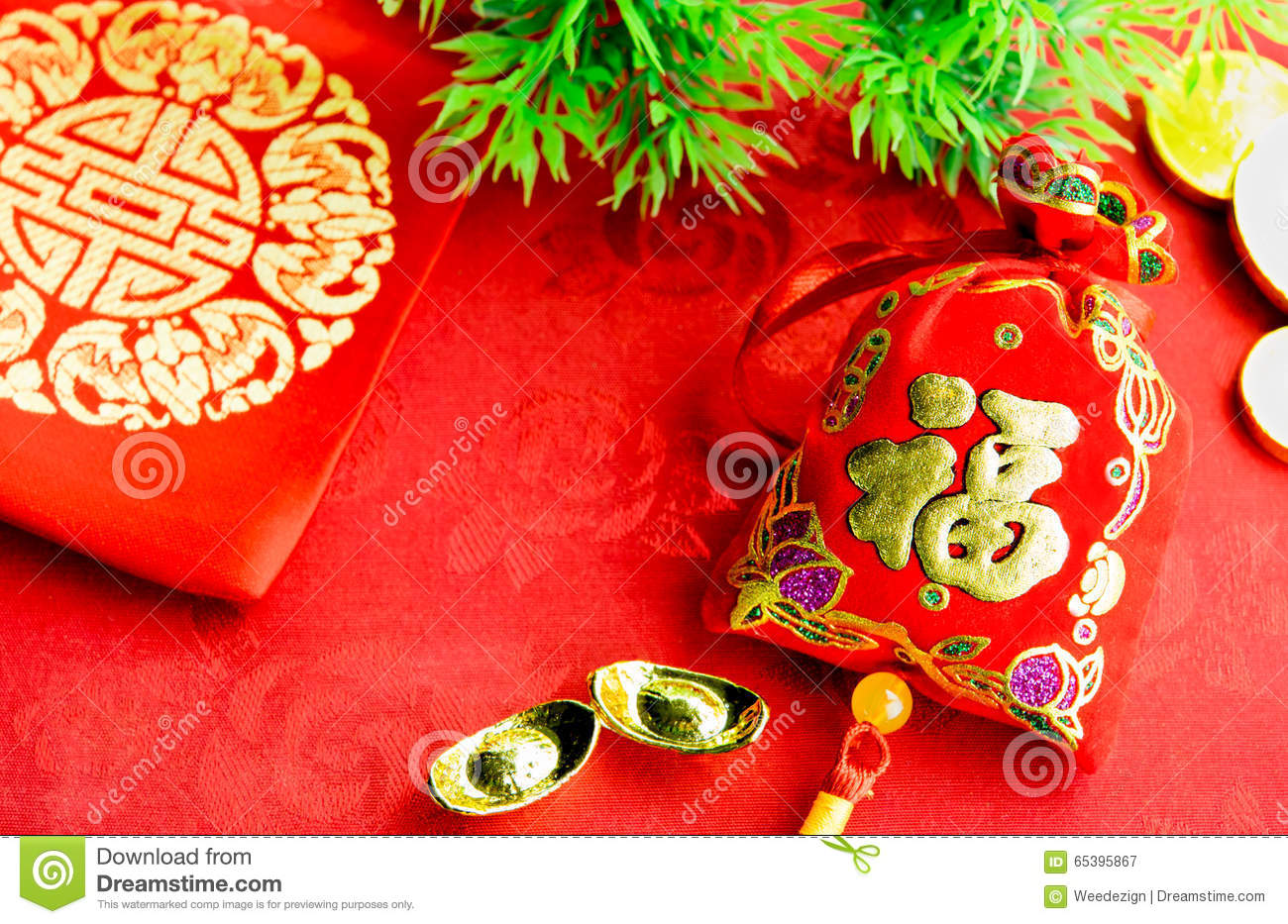Chinese New Year Decoration: Red Felt Fabric Packet Or Ang ...