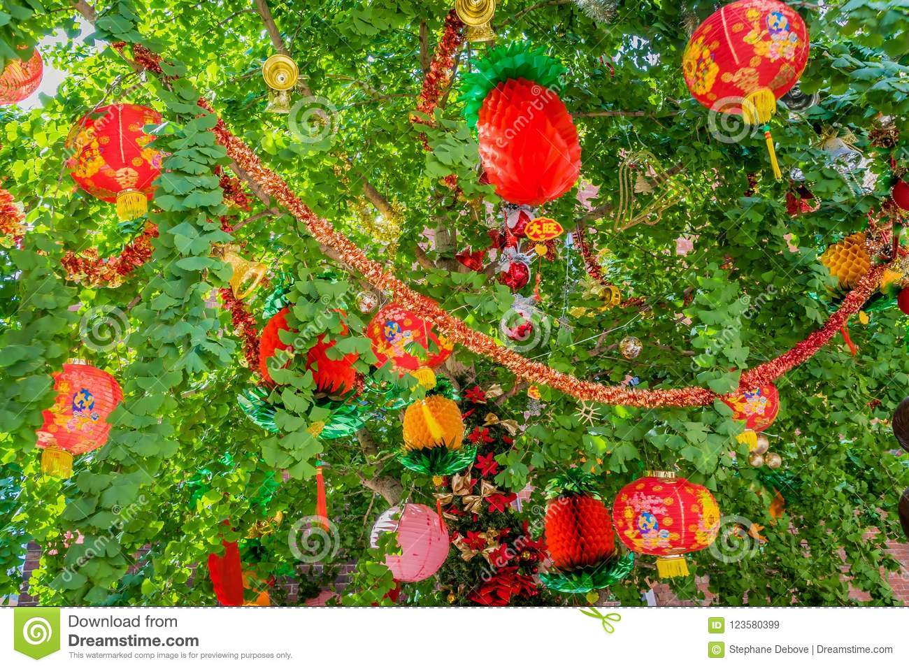 Chinese new year decoration in a tree