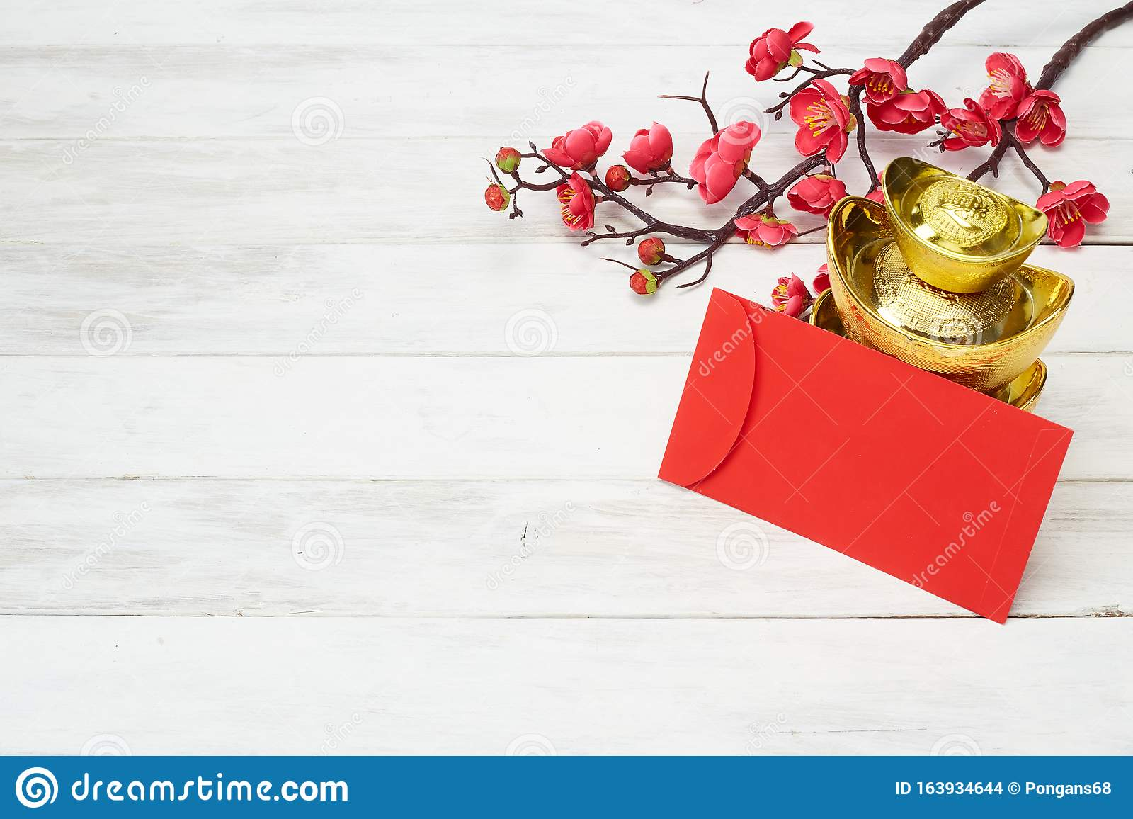 Chinese New Year decoration on wooden background