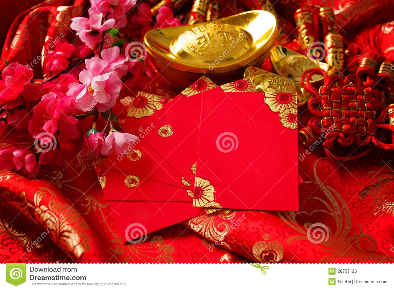Chinese New Year Decorations Stock Photo - Image of gold ...