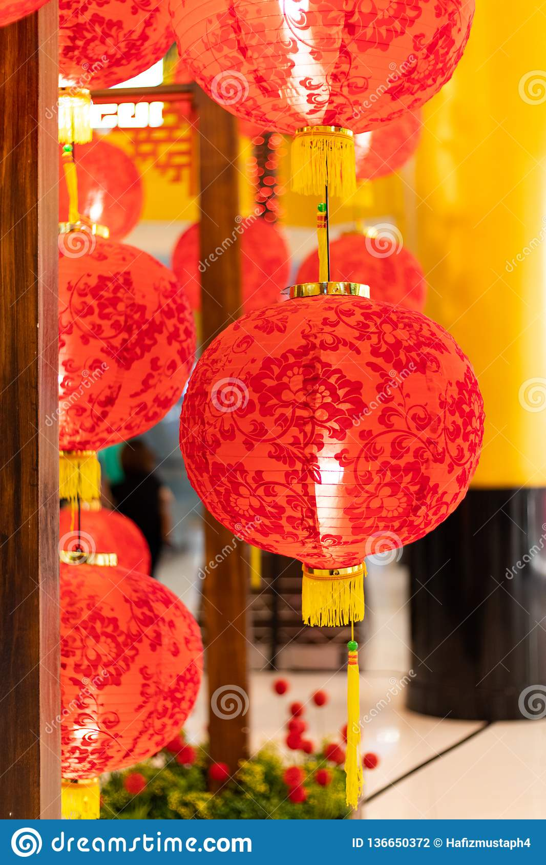 Chinese New Year Decorations With Lanterns And Envelopes ...