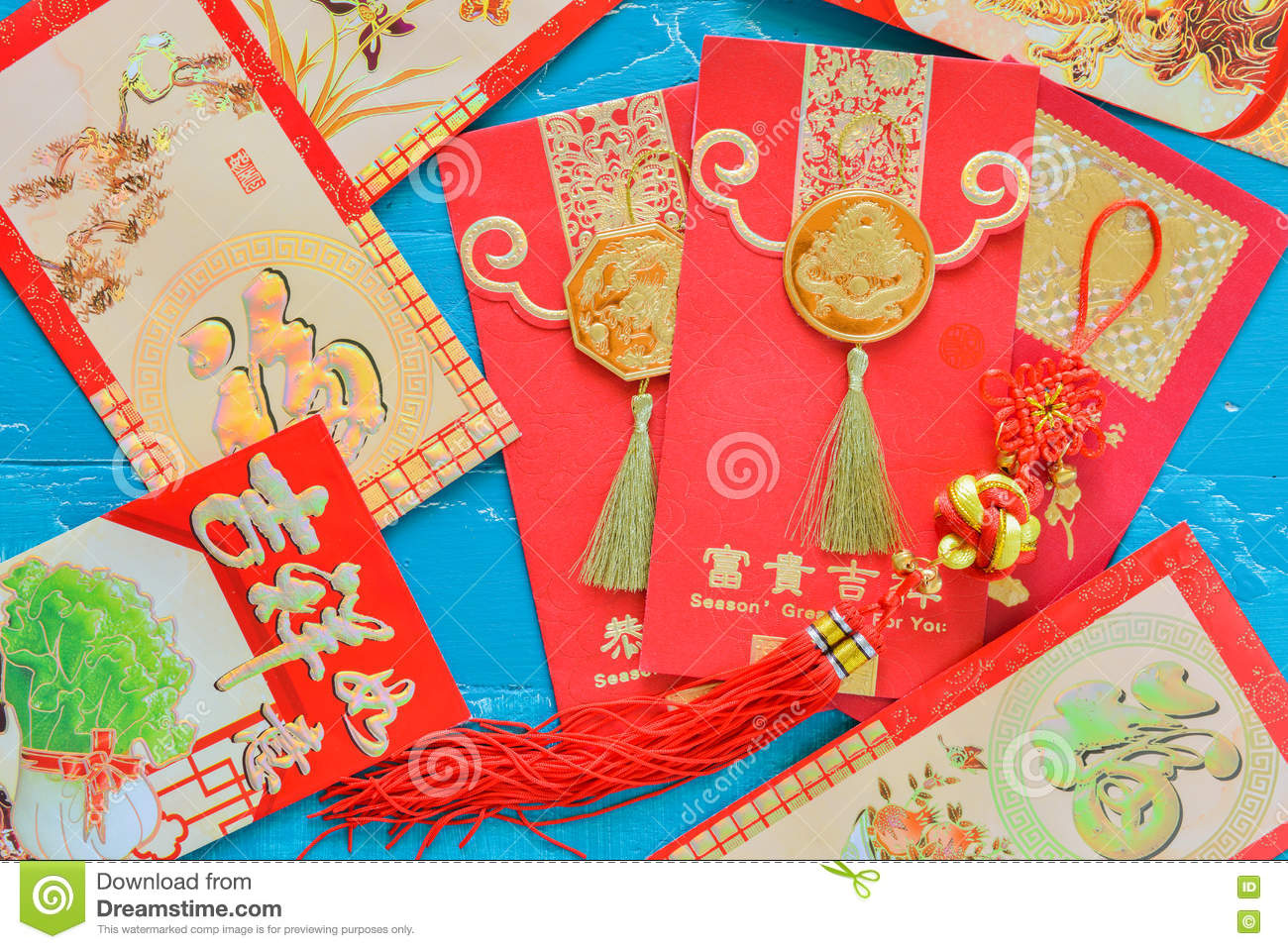Chinese New Year Decorations Red Envelope And Traditional ...