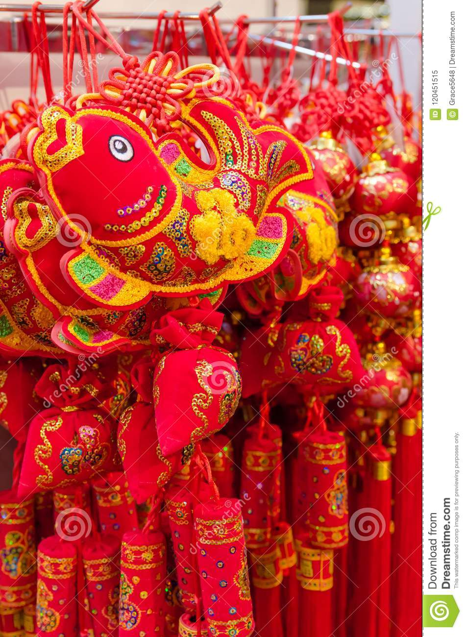 Chinese new year decorations selling in the store stock image chinese new year decorations selling in the store m4hsunfo