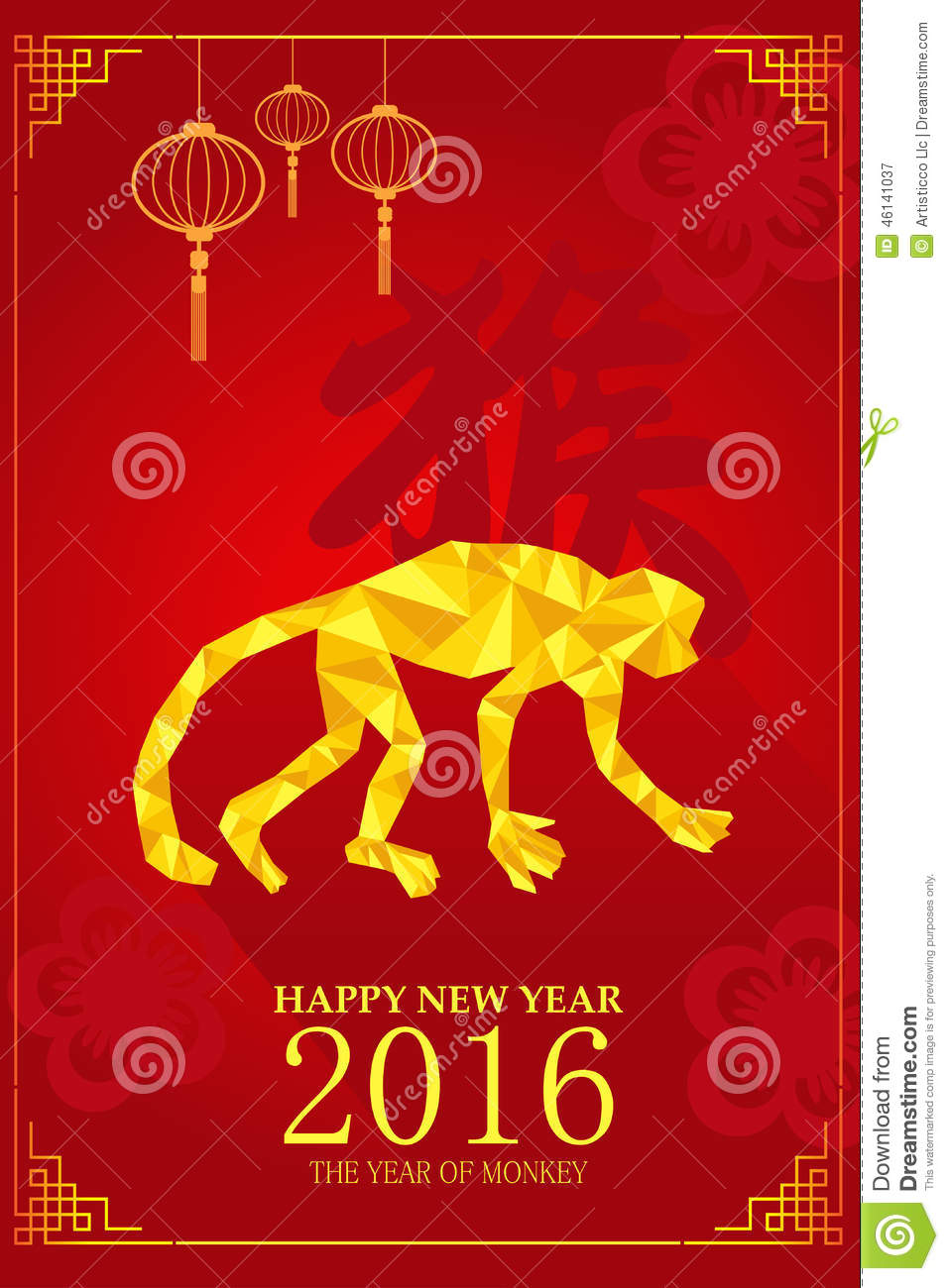Chinese New Year Design For Year Of Monkey Stock Vector - Image ...