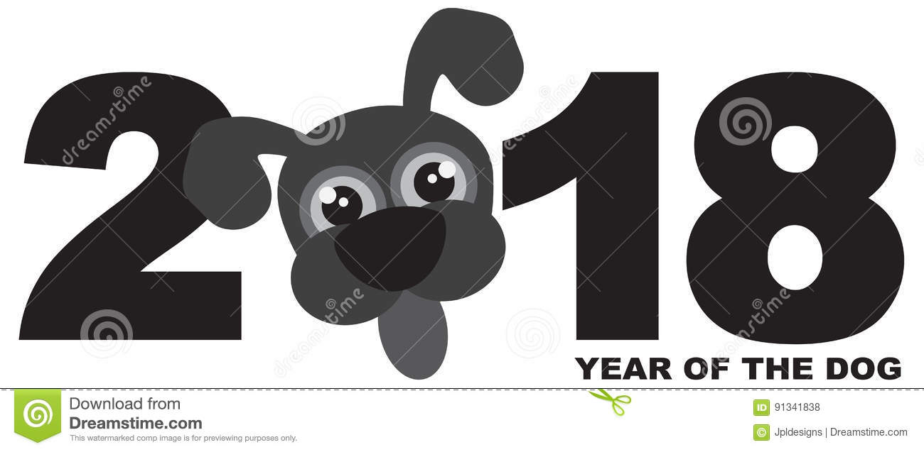 2018 Chinese New Year Dog Grayscale vector Illustration