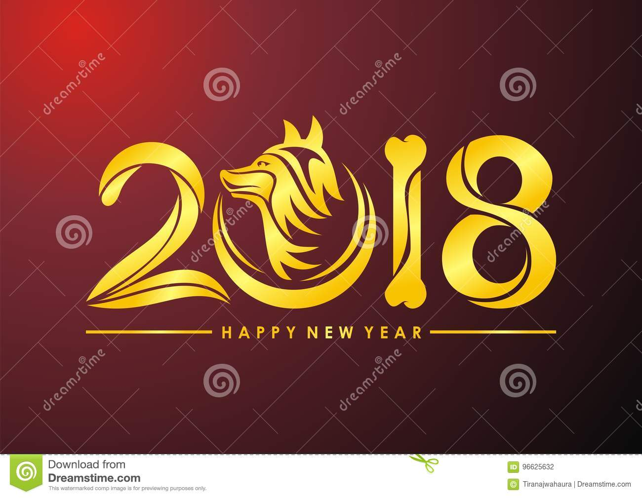 Chinese New Year of the dog 2018 text