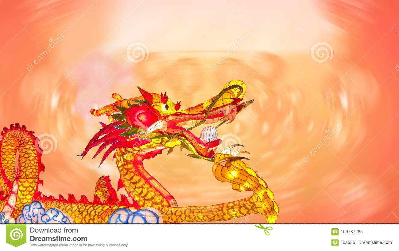 Chinese new year dragon with lanterns