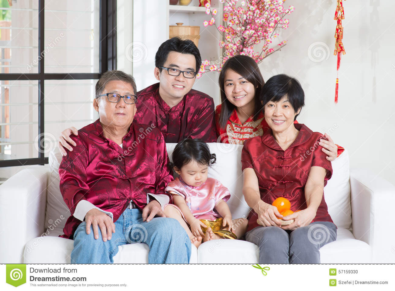 Chinese new year with family stock photo image 57159330 - New year celebration at home ...