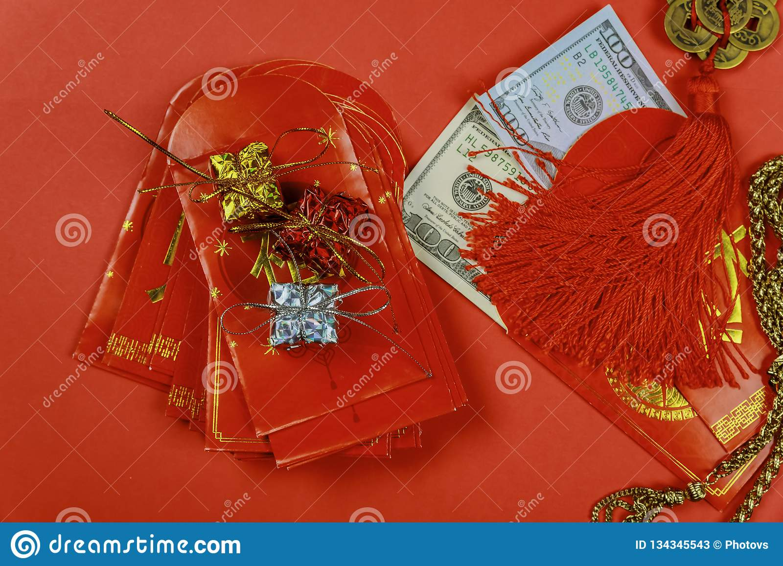 Chinese new year festival decorations, and pow or red packet with dollars inside