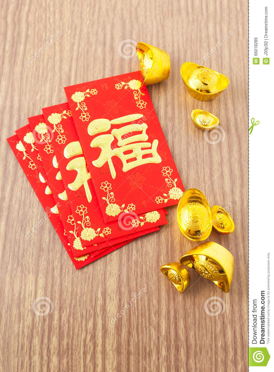 Chinese new year festival decorations on wood background for Ang pow packet decoration