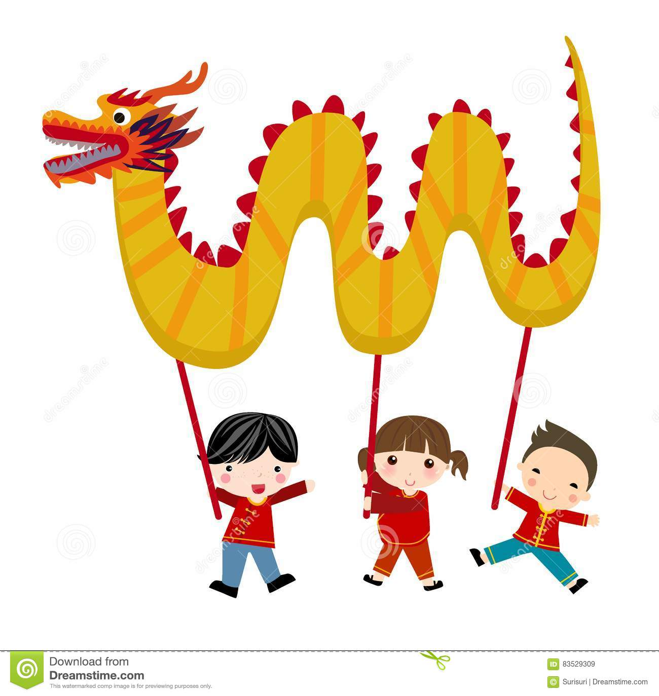 Chinese New Year Festival/Dragon Dance Stock Vector - Illustration of luck,  smiling: 83529309