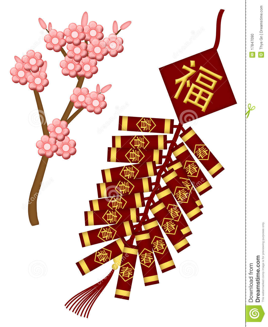 Chinese New Year Firecrackers with Spring Flower Blossoms Illustration ...