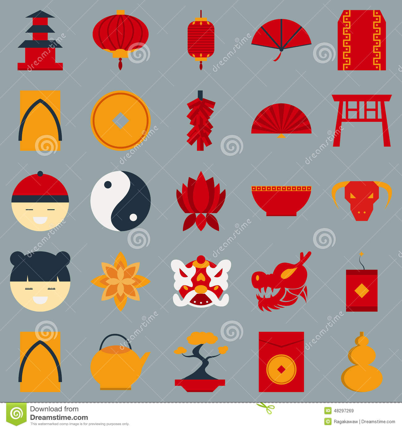 Chinese New Year Flat Design Object Stock Vector Image
