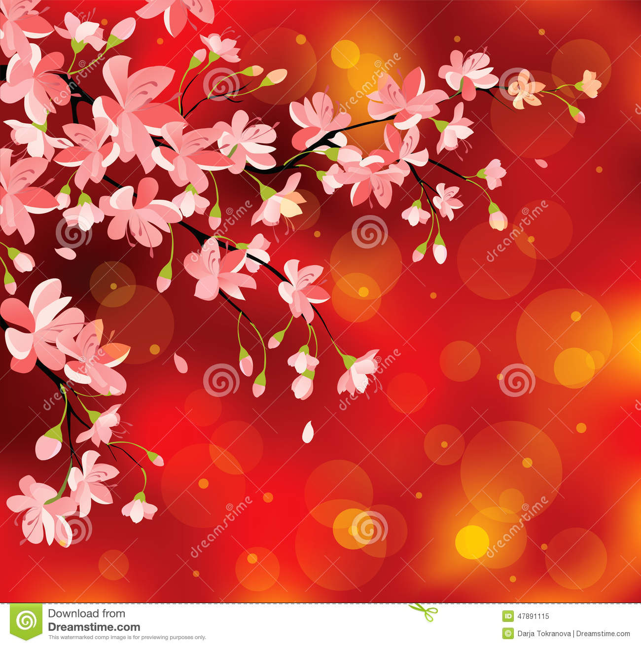 Chinese new year flowers stock vector image 47891115 - Flowers for chinese new year ...