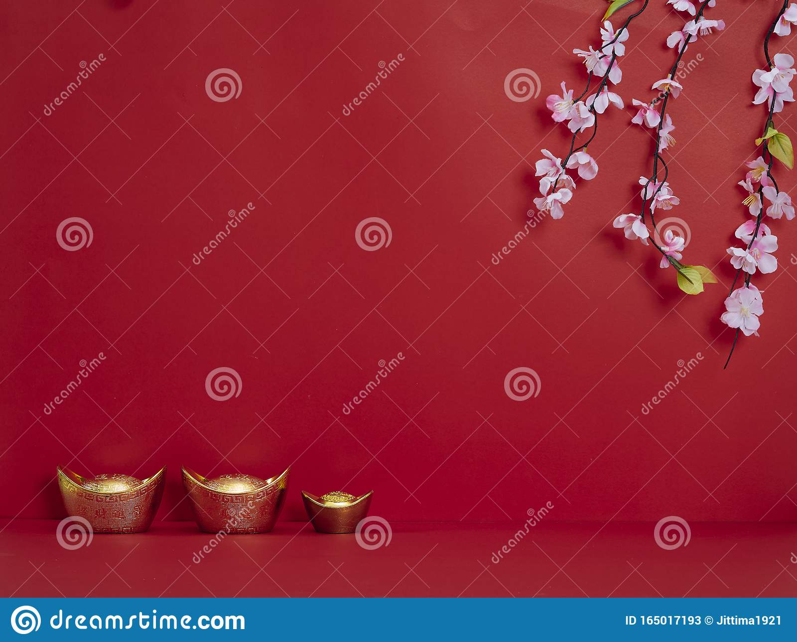 Chinese New Year 2020. Flowers and chinese gold ingot