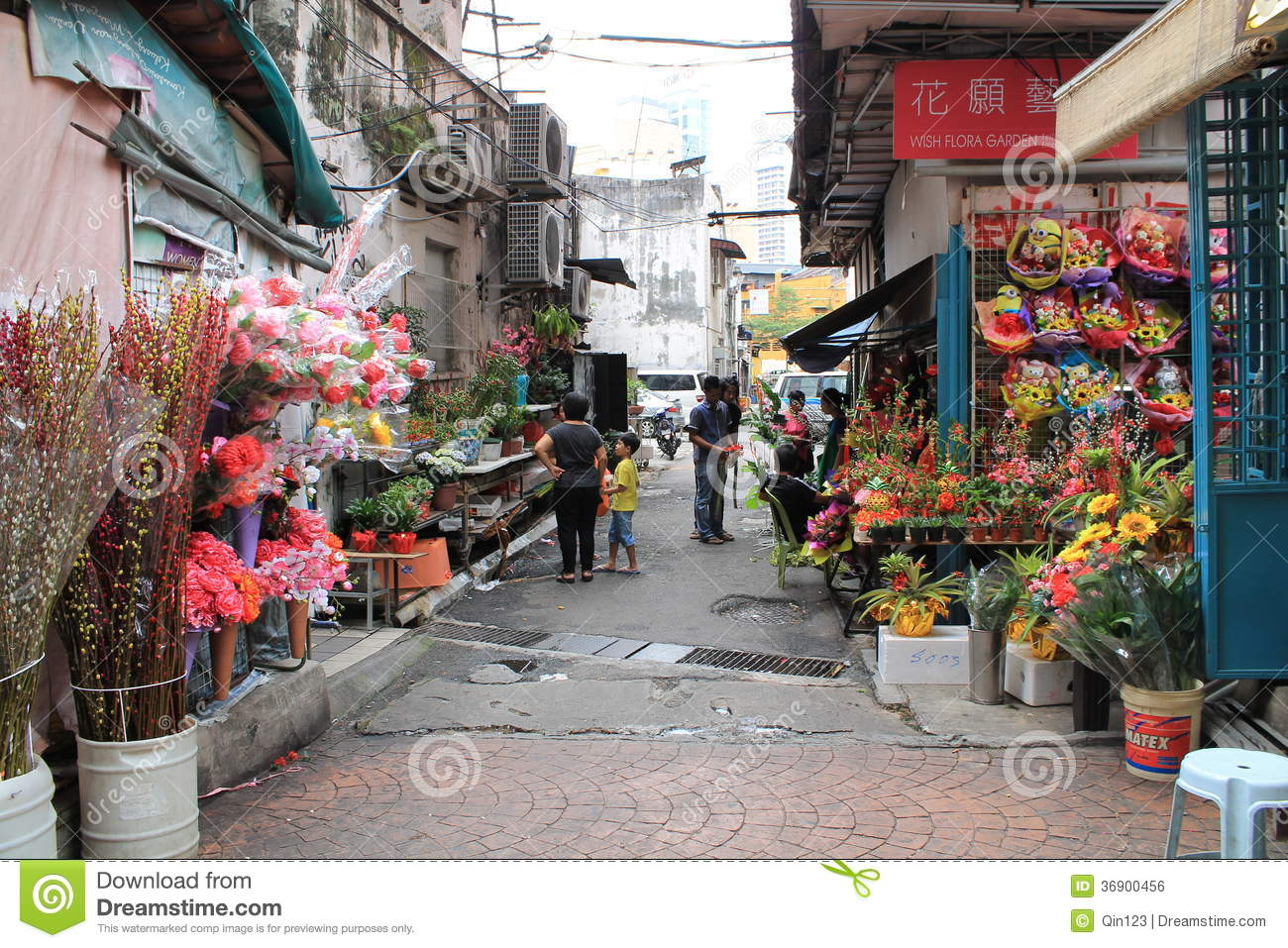 Chinese New Year Decoration Shop At Petaling Street Malaysia Editorial Image