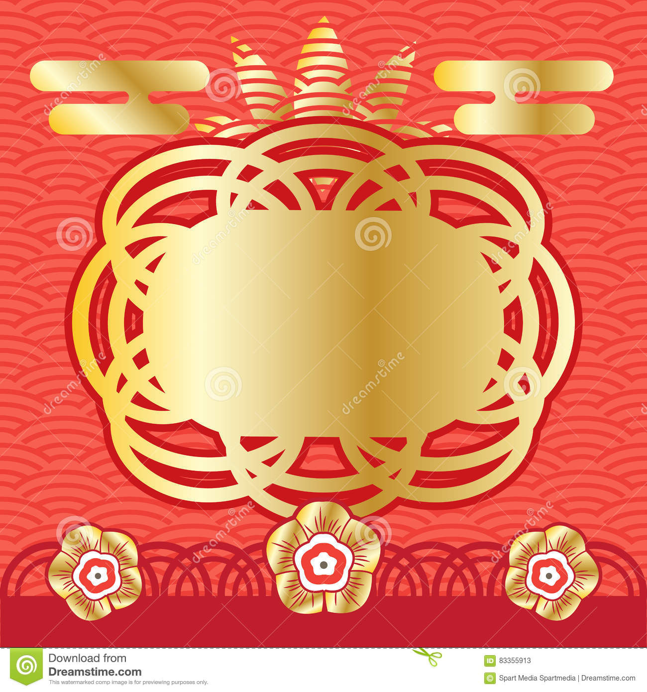 Chinese New Year Frame Stock Vector Illustration Of Fortune 83355913