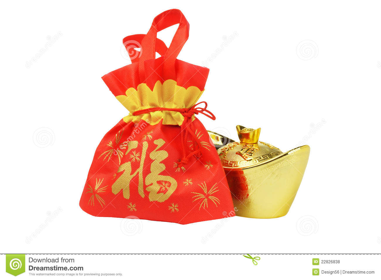Chinese New Year Gift Bag And Gold Inpgot Ornament Stock ...