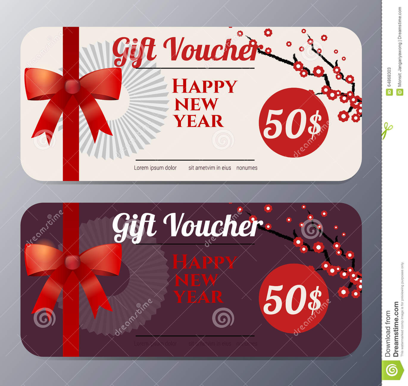 Chinese New Year Gift Voucher Template Stock Illustrations 52