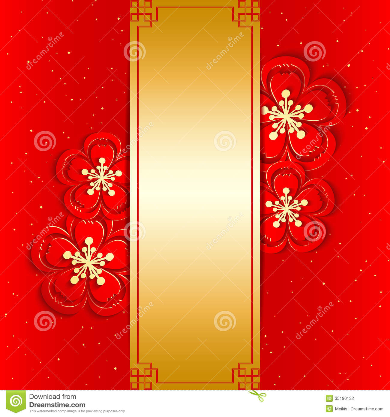 Chinese New Year Greeting Card Stock Vector Illustration Of Golden