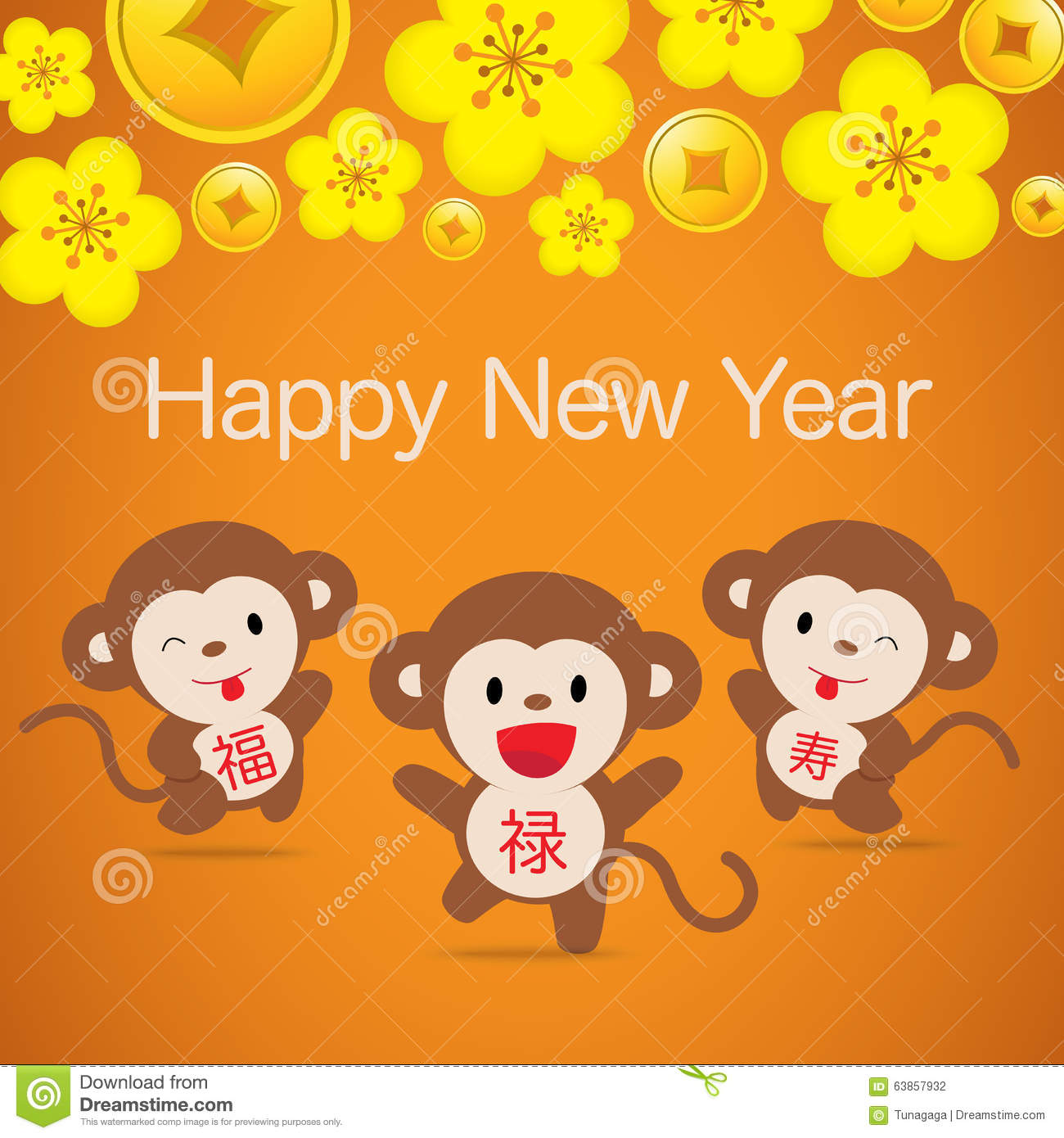 2016 Monkey Chinese New Year Greeting Card Design Stock Vector