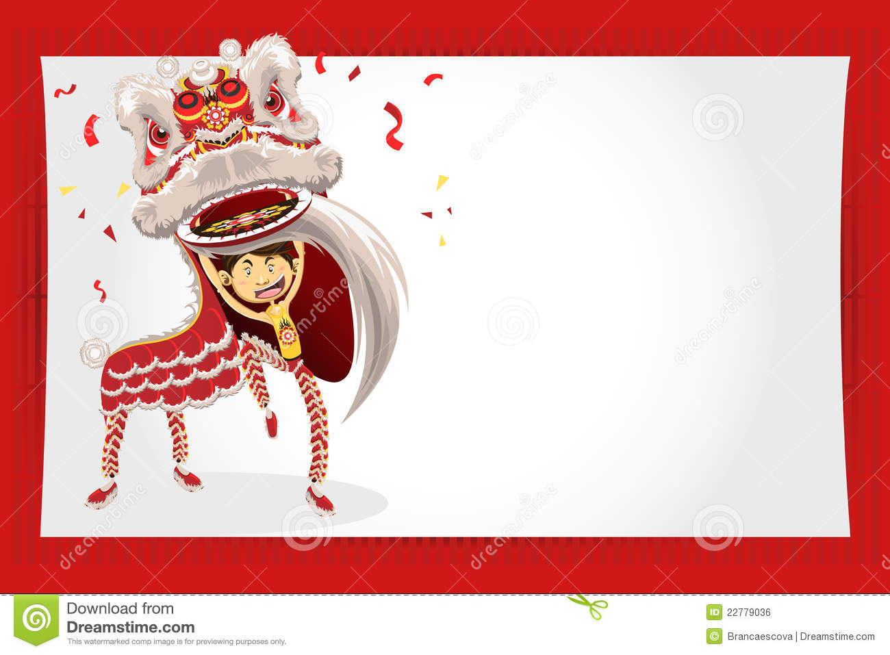 Chinese New Year Greeting Card Lion Dance Royalty Free ...