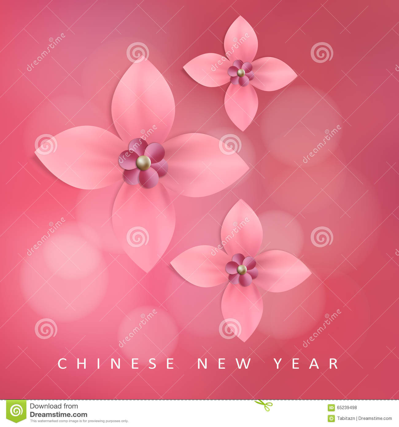 Chinese New Year Greeting Card With Pink Paper Flowers