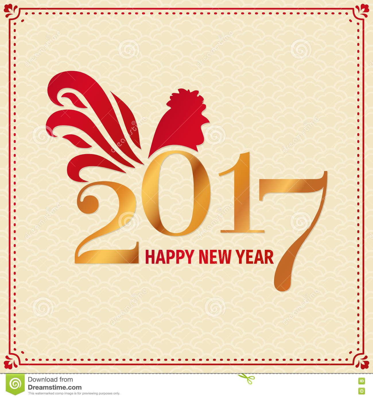 2017 Chinese New Year Greeting Card With Rooster Stock Vector