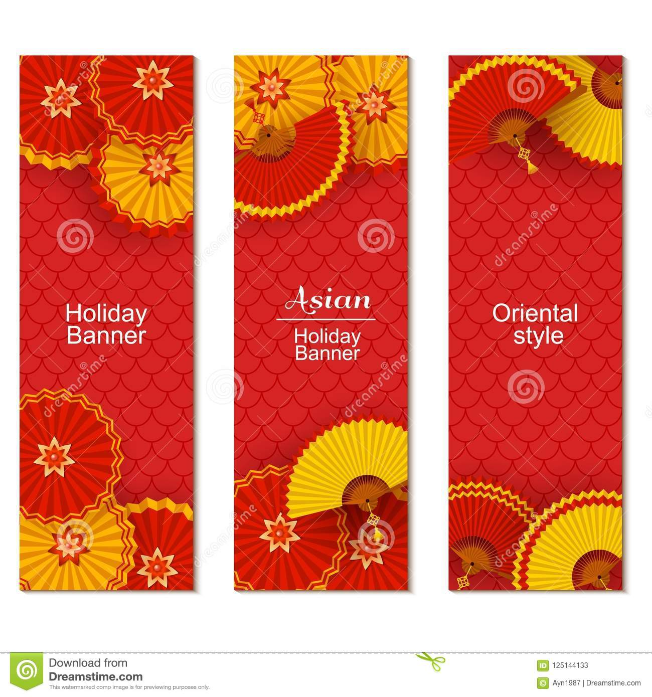 chinese new year greeting card with tradition pattern and round paper fans paper cut origami