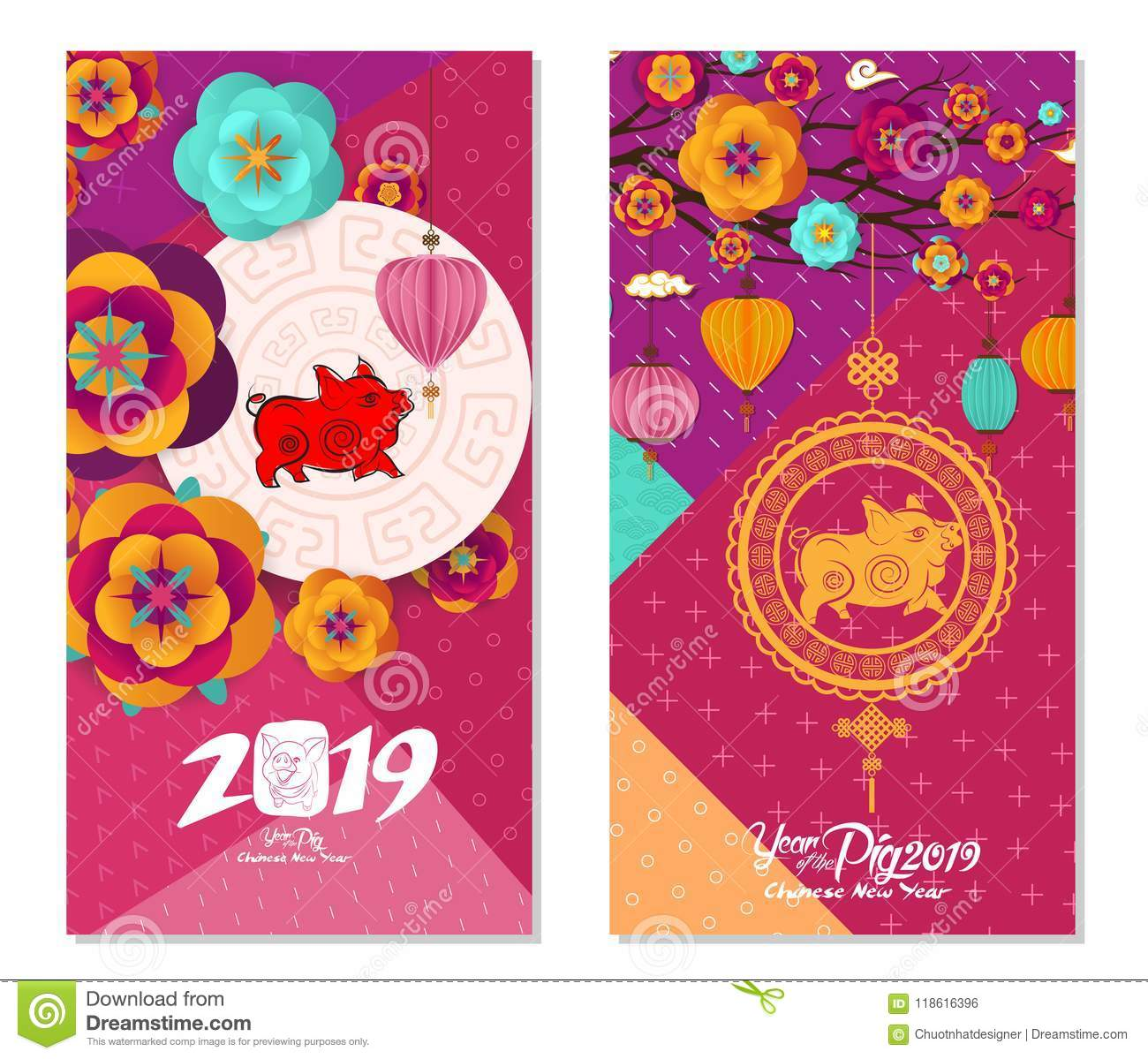 2019 chinese new year greeting card two sides poster flyer or invitation design with