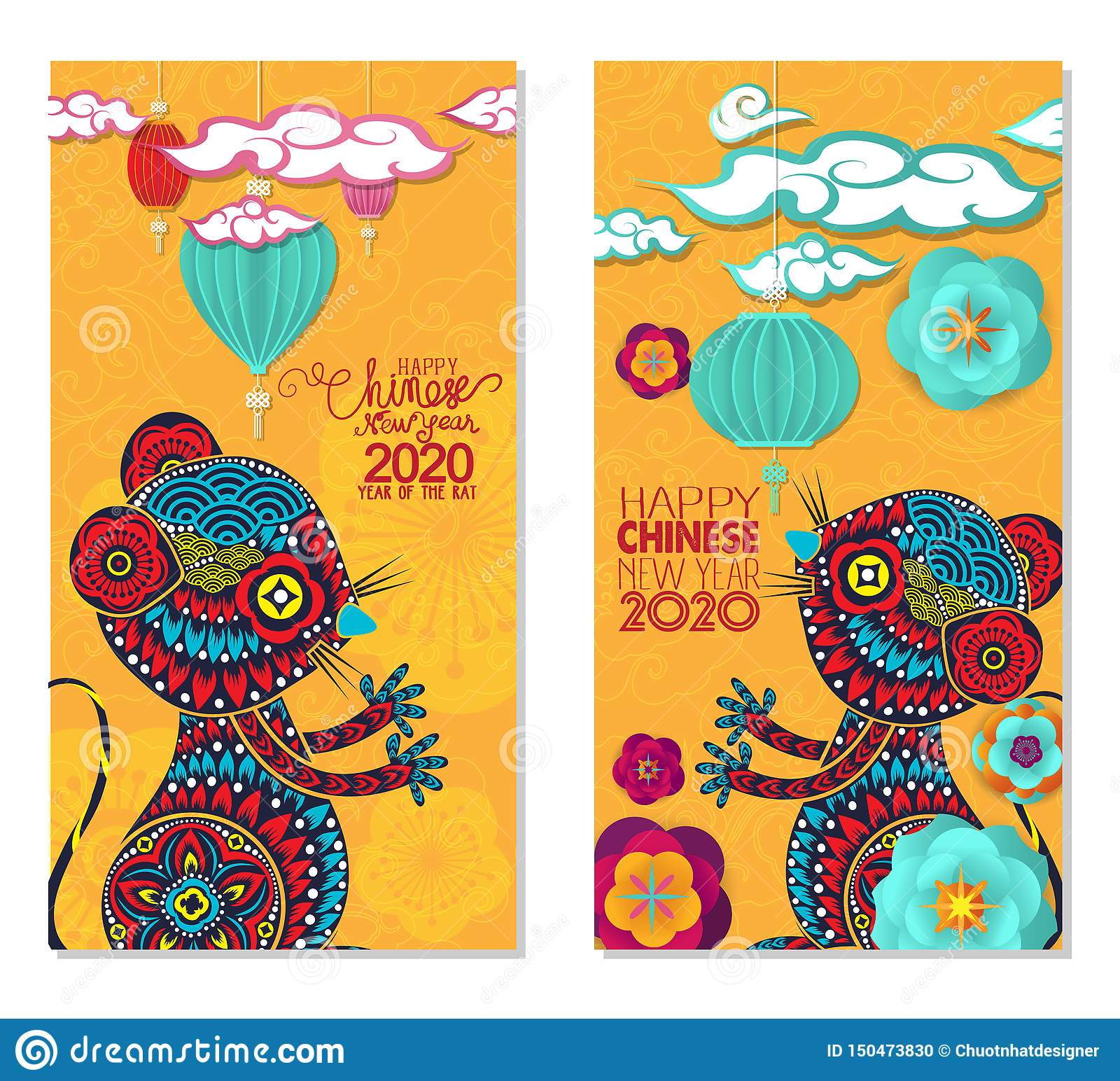 2020 Chinese New Year Greeting Card, Two Sides Poster ...