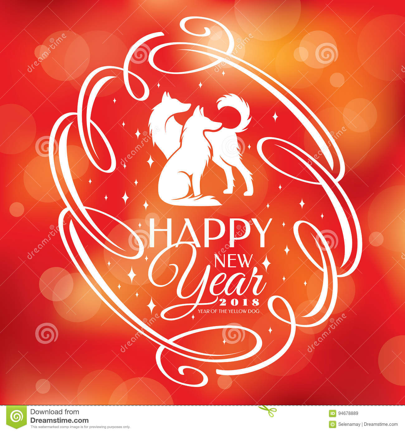 Chinese New Year Greeting Card 2018 Year Stock Vector