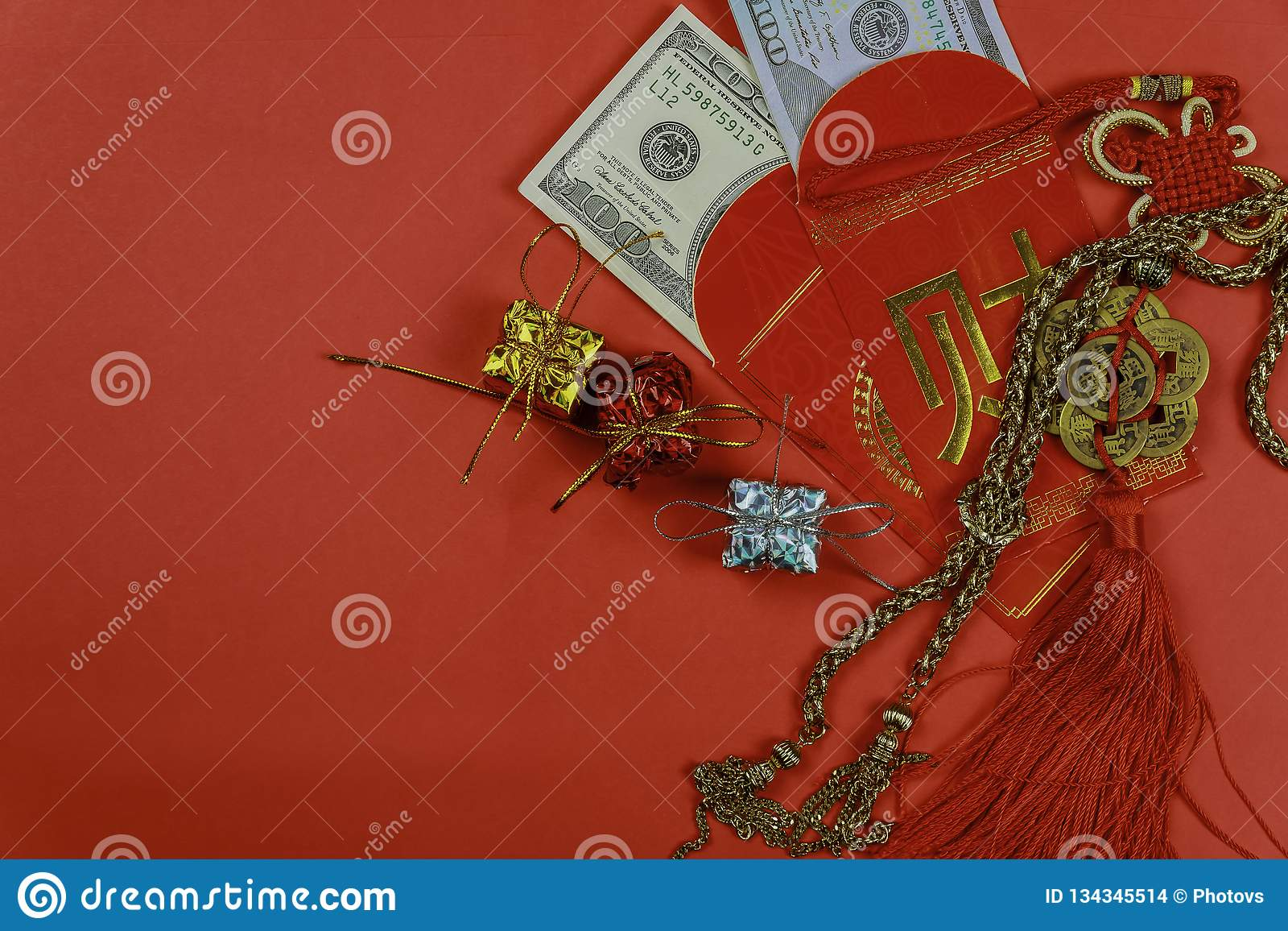Chinese new year greeting red envelope, lucky dollar money for gift