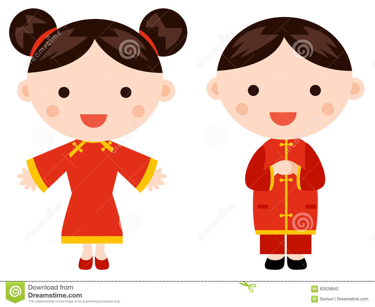 Chinese New Year Greetings- Children Stock Illustration ...