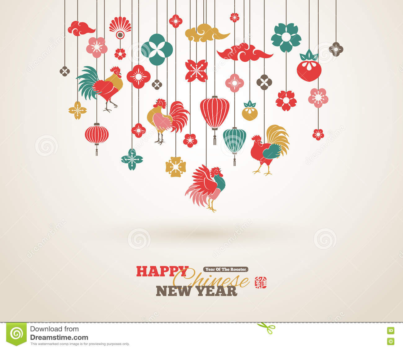 Chinese New Year Hanging Decorations Stock Vector ...