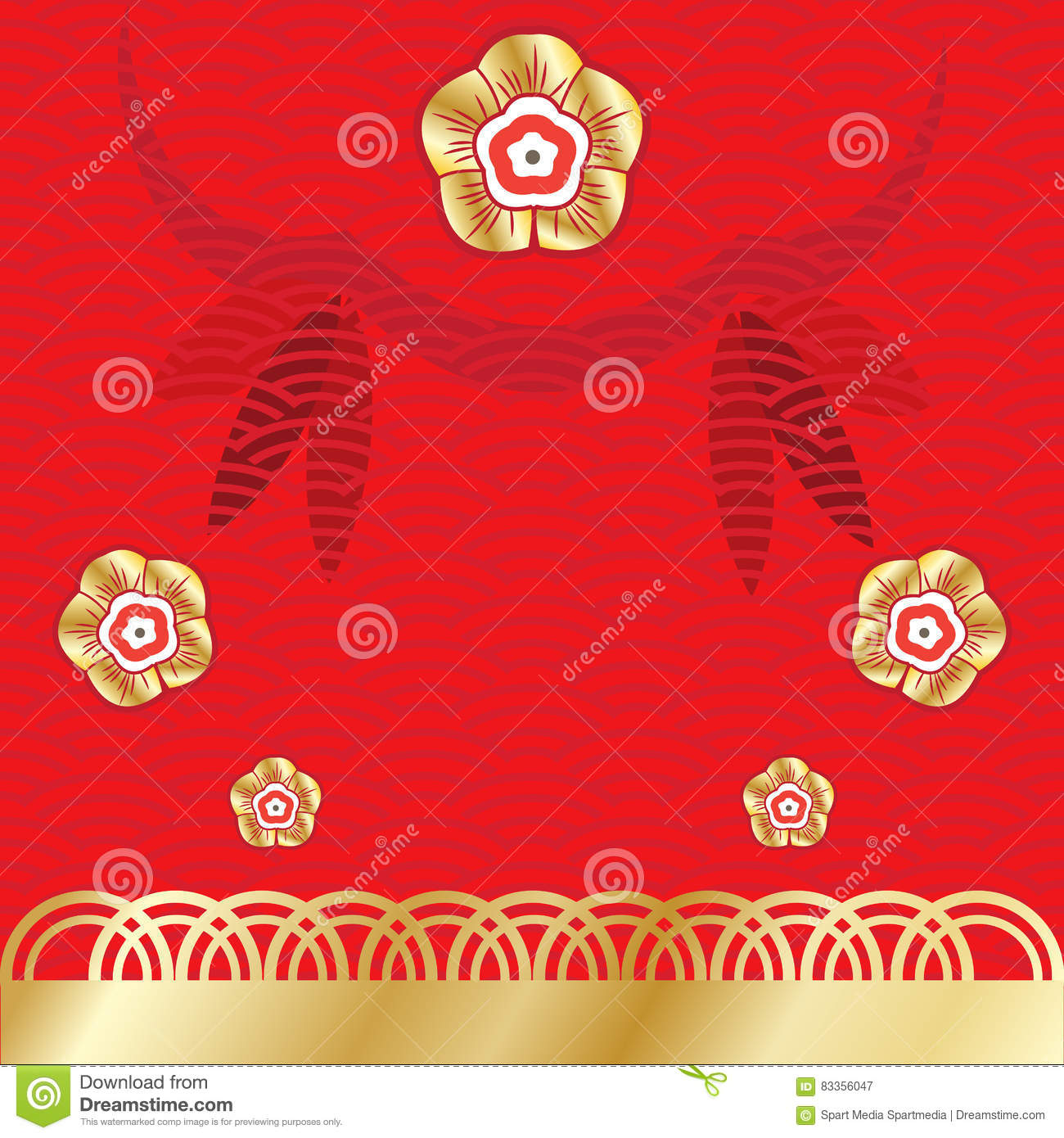 Chinese New Year 2020 Floral Ornaments Gold Frame Card ...