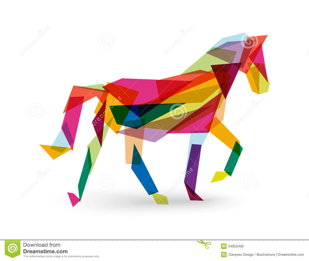 Chinese New Year Of The Horse Abstract Triangle EPS10 File. Royalty ...