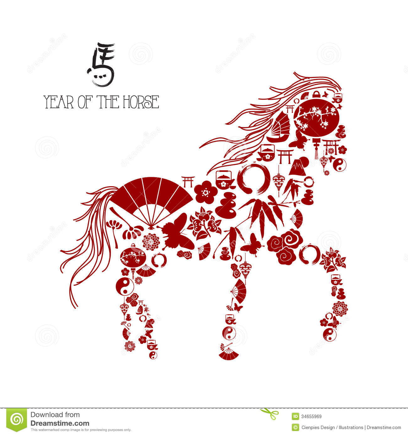 Chinese New Year Of The Horse Icons Composition Stock