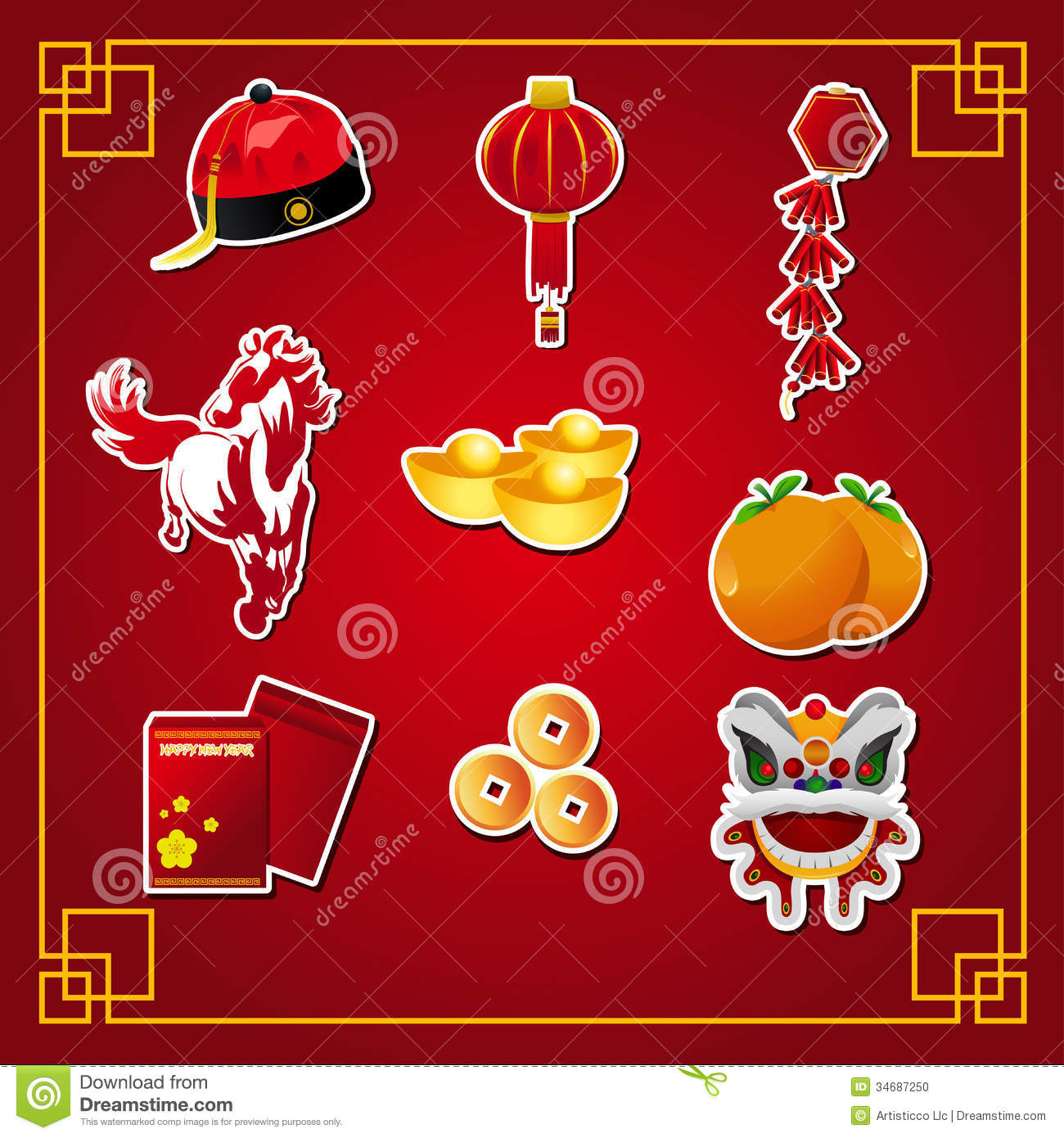 Chinese Calendar Illustration : Chinese new year icons stock vector illustration of gold